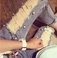 Women Fashion Summer Mid Waist Hole Distrressed Denim Capris Jeans Free Shipping A409A-8858