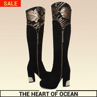 Fashion Genuine Leather Women Long Boot New Brand Flower Letter Printing Botas Feminine Over Kneee Boot Shose S071