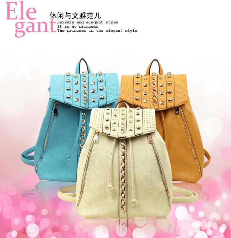 European 2014 New elegant ladies backpack Fashion High quality women backpack Simple Casual Rivet printing backpack,school bags(China (Mainland))