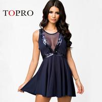 Topro 2015 New Fashion Dark Blue Mesh Patchwork Sequin Women Dress Backless Big Swing Skater Sheer Chic Celebrity Dresses HW0134