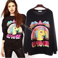 Drop Shipping Women Print unicorn Animal hoodies sweatshirts winter warm pullover casual sweatshirt Long Sleeve T-shirts Top b6