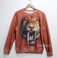 New 2014 Autumn winter Tiger tops Women/men Hoodies Sportswear Animal Sweatshirts clothing set 3D Print Full Fleece Suit coat