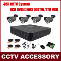 4 Bullet Cameras Color Video Surveillance System CMOS 700TVL IR Camera Kit CCTV 8CH P2P HDMI H. 264 DVR with HDD Security System