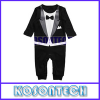 2014 new spring and autumn children gentleman bow climb clothes black and white two color KS1025