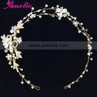 Free Shipping Silver Plating Pearl And Rhinstone Handmade Wedding Headpiece Hair Vine