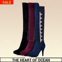 Fashion Genuine Leather Women Long Boot Rhinestone Mix Colors New Brand Botas Feminine Over Knee Boot Thin Heel Shose S073
