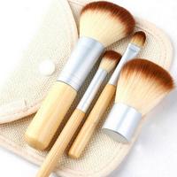 Hot Sale 4 Pcs Bamboo Handle Makeup Brushes Foundation Powder Blush Eye Shadow Brush Cosmetic Makeup Tool Set+Hessian Bags