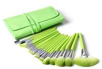 24 pcs Professional Cosmetic Makeup Brushes Set Green Nylon Hair Make up Brush Kit With PU Bag Free Shipping