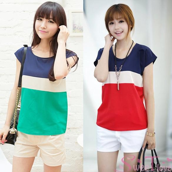New moda feminina listrado Blusa breve Chiffon camiseta Loose Women de manga curta Tops Blusa Plus Size 2 cores verão SL0148(China (Mainland))