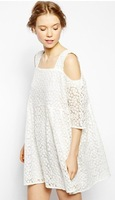 Free Shipping 2014 fashion summer vintage half sleeve strapless little daisy lace double layer white lace dress