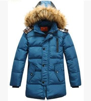 2014 new children's down jacket boy cuhk long coat collars winter keep warm down coat  winter jacket