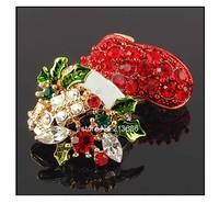 Best Christmas Holiday Present Santa Socks Shoes Boots Red Shinning Rheinstone Crystal Gift scarf pin Brooch Corsage Pin b6 8459