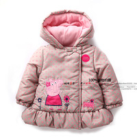 new 2014 children coat autumn winter baby clothes kids jackets baby girls outerwear child cute dot pig coats baby Hooded parka