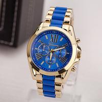 2014 New Fashion Men Gold Geneva Watch Luxury Brand Watches Rome Dial Analog Quartz relojes Wristwatch relogios masculinos 2014