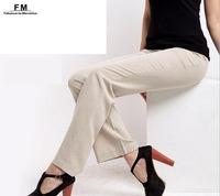 Long Linen Pants Women High Waist Formal Trousers 2014 Autumn For Office Lady  OL Plus Size Women Clothing XXXL 4XL AW14P007