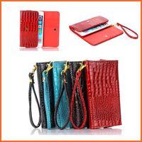Crocodile grain leather Universal Wallet pocket bag case for Samsung galaxy  note 2 N7100 note 3 N9000 handbag with wrist strip