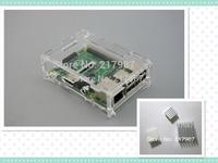 Transparent Pi Box case shell for Raspberry Pi Model B plus pure aluminum heat sink set kit (3pcs/kit)