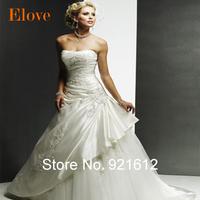 2015 New Satin Casamento Mariage Cheap Vestido De Novia Gown Bride Sexy Fashionable Vintage Plus Size Wedding Dress WDE07