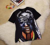 H&Q 2014 new runway autumn fashion women abstract head portrait print short sleeve O-neck blouse shirt S,M,L