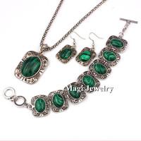 4pcs/set Jewelry Sets Women Green Malachite Stone Flower Pendant Necklace Bracelet and Earrings Quality Gifts BFWS