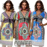 2014 Sexy Summer WOMEN BOHEMIAN MAXI DRESS Paisley Print V neck Boho Hippie sundress(S-XXL)