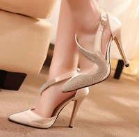 fashion Pointed Toe pumps vintage high heels women pumps rhinestone high heeled shoes women size 35-39