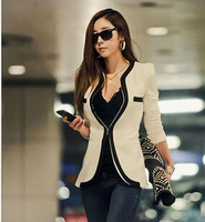 2014 New Women Fashion Winter  Slim Blazer Coat Casual Jackets Long Sleeve V-Neck Black White One Button Suit OL Outerwear