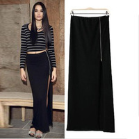 Sexy 2014 European and American Style Casual Zippers Solid Fashion Floor-Long Package Hip Skirts S,M,L WQZ-1058