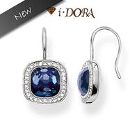 2014 New Arrival  fashion silver plated dangle earrings jewelry diamante rhombus Earrings TB8167 blue/silver