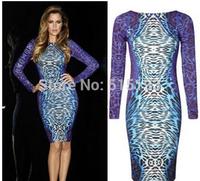 women sexy plus size Leopard long sleeve knee length dress female bandage dresses xxl woman Evening formal party Bodycon dress