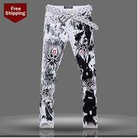 Men's Jeans Korean Slim Personalized Printing 2014 New Fashion Tide Men's Trousers  Pants Stained Pants