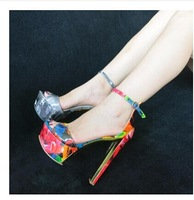 Fashion Printed Flora Graffiti Women Sandals 2014 New Design Thick High Heel Peep Toe  Pumps Platform Heels Shoes Size 5-10