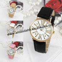 100pcs/lot Girl's Roman Style Leather Watches Fashion Rhinestone Women Rivet Wrist Quartz Watch Hot Woman Leather Dress Watch