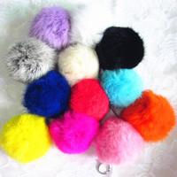 12 Colors New Big 8cm Big Geniune Rabbit Fur Quality Soft Fur Balls Keyrings Tag KeyChain Phone Charms accessories