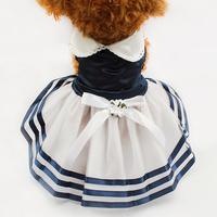 Armi store Dog Stripes Tutu Lace Sailor Skirt 71012 Pet Princess Dress Wholesale