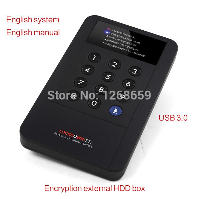 "FREE SHIPPING USB 3.0 External Hard Drive Disk Box Case PASSWORD Korea High speed Encryption Type 2.5"" Sata To Externo Box HDD(China (Mainland))"