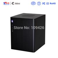 Realan D5 Wiredrawing Black Aluminum Mini ITX Desktop Computer Case, USB2.0 + 3.0, 4 x PCI Slots