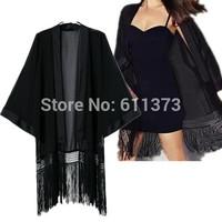 2014 New Women Sexy Black Fringed Kimono Coat Chiffon Cardigan Wholesale