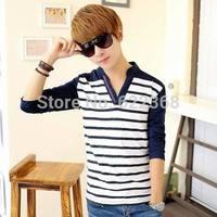 2014 New fashion high quality Men's Slim Stripe shirt Casual shirt Basic V-neck sweater Knitwear clothing Free Shipping