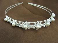 Wholesale 6pc Pearl Rhinestone Headband Girl Wedding Head Band Hair Jewelry Quinceanera Tiaras And Crowns Headpiece WIGO0335