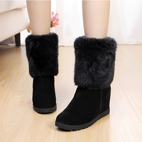 {D&T}2014 Winter Women Nubuck Genuine Leather Snow Boots,Height Increasing Cotton Boots,Plus Plush Winter Shoes.