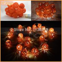 2M length, 20PCS beautiful orange tone rattan wicker ball string light party fairy decoration ,bedroom, wedding warmly lights
