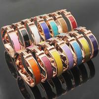 Luxury Brand H Letter Buckle Enamel Colored Painted Bracelet Bangle Women Stainless Steel 18k Rose Gold Bracelet Bijoux Jewelry