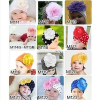 New Cap Baby Winter Newborn Beanie Big Flower Baby Hats Photo Props Princess Girl's Hat Child Pocket hat Candy colors 12 styles