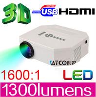 Big discount ATCO 1300lumens 1080P HD Home Theater 3D Cinema HDMI USB Video Game LED Mini Projector beamer proektor