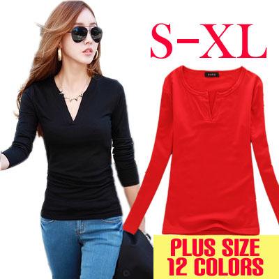 V-Neck crochet T Shirt Women T-shirt Casual Tops Long Sleeve Fashion blusas femininas 2015 Solid tee shirts Clothing(China (Mainland))