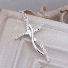 NEW arrive Factory Price Beautiful 925 sterling silver WOMEN Cute pretty cross crystal necklace high quality fashion