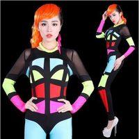 Halloween DS Singer Pole Dancing Neon One Piece Costume Multicolour DJ Patchwork Superman Women Female Sexy Loading Bodysuit