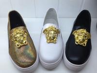 women sneakers new 2014 luxury brand women sneaker women genuine leather low top slip on shoes fashion shoes woman size 35-41