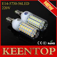 Energy Efficient E14 Cree Smd 5730 56Leds Solar Corn Bulbs Led Lamps Spotlights 220V 18W  Pendant Led Lights Lighting 10Pcs/Lot